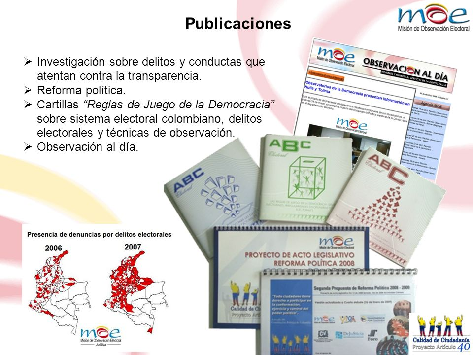 Publicaciones Investigación sobre delitos y conductas que atentan contra la transparencia. Reforma política.