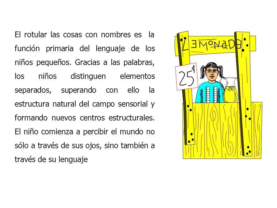 El rotular las cosas con nombres es la función primaria del lenguaje de los niños pequeños.