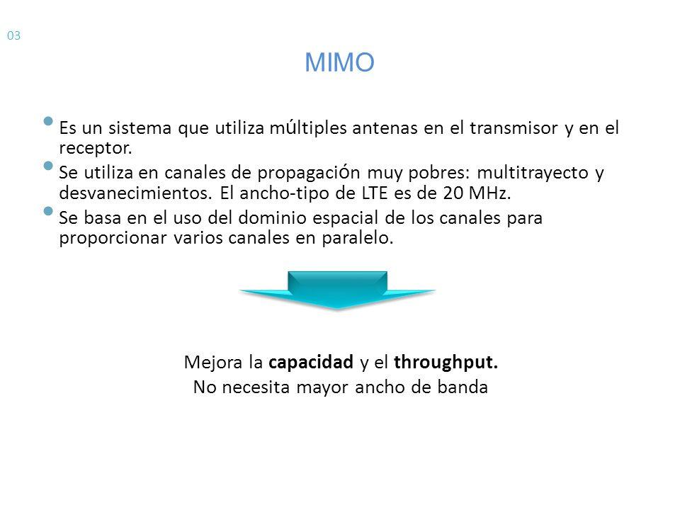 03 MIMO. Es un sistema que utiliza múltiples antenas en el transmisor y en el receptor.