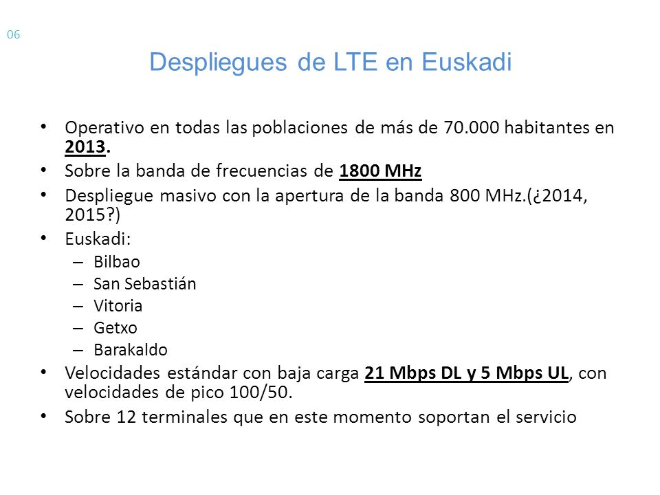 Despliegues de LTE en Euskadi