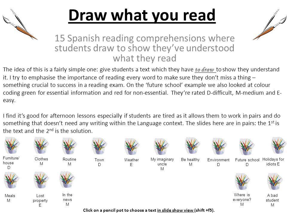 Draw what you read 15 Spanish reading comprehensions where students draw to show they've understood what they read.