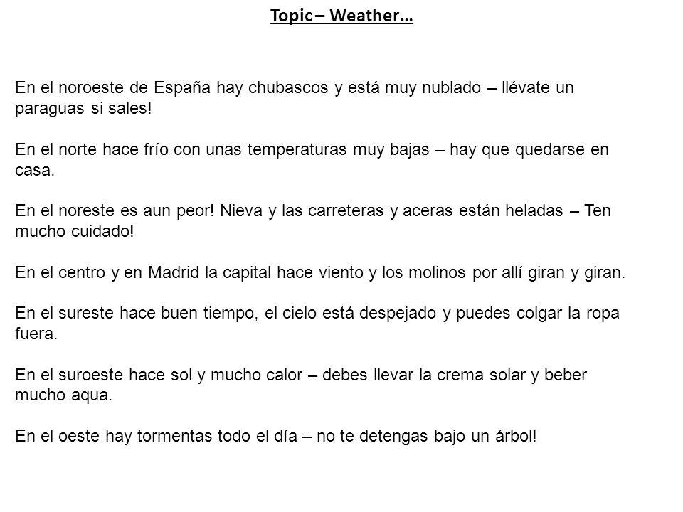 Topic – Weather… En el noroeste de España hay chubascos y está muy nublado – llévate un paraguas si sales!
