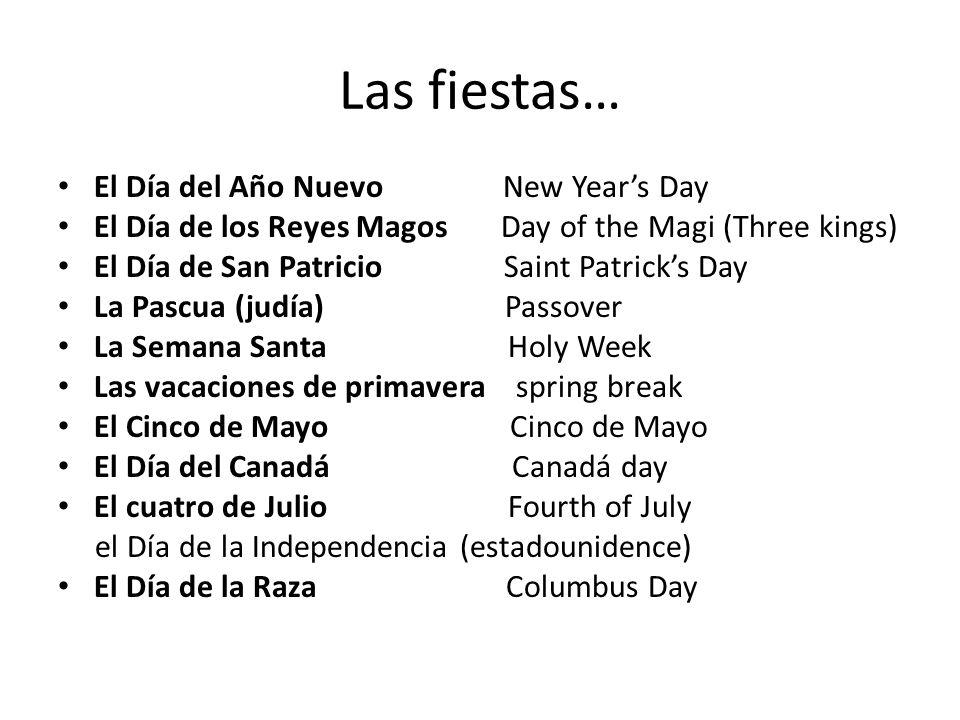 Las fiestas… El Día del Año Nuevo New Year's Day