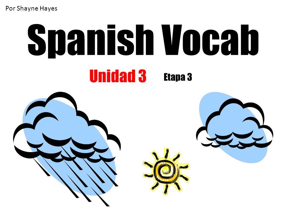 Por Shayne Hayes Spanish Vocab Unidad 3 Etapa 3