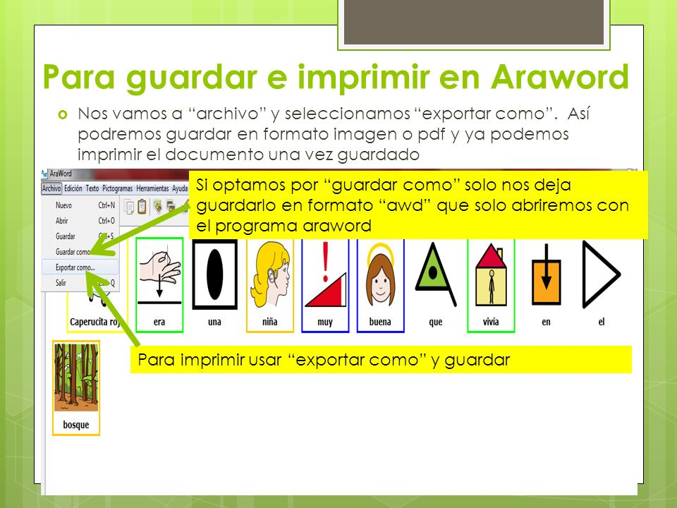 Para guardar e imprimir en Araword