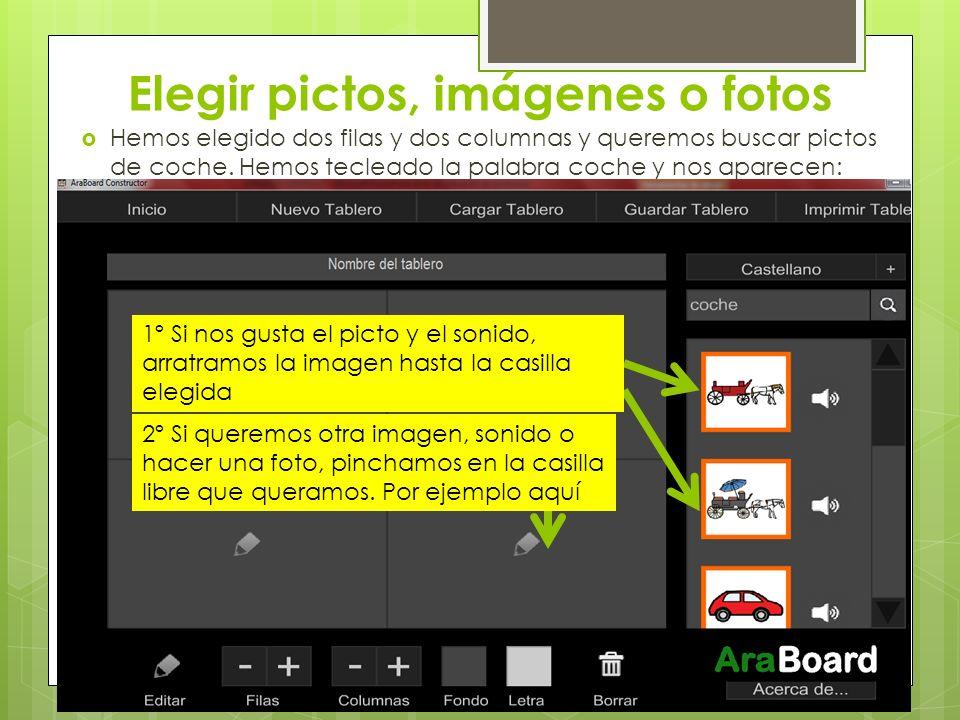 Elegir pictos, imágenes o fotos