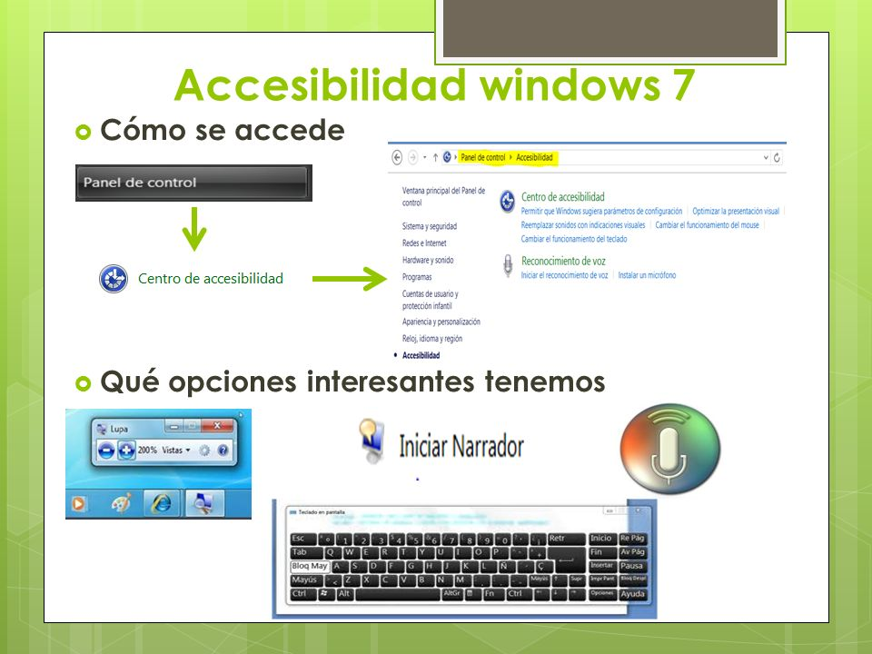 Accesibilidad windows 7