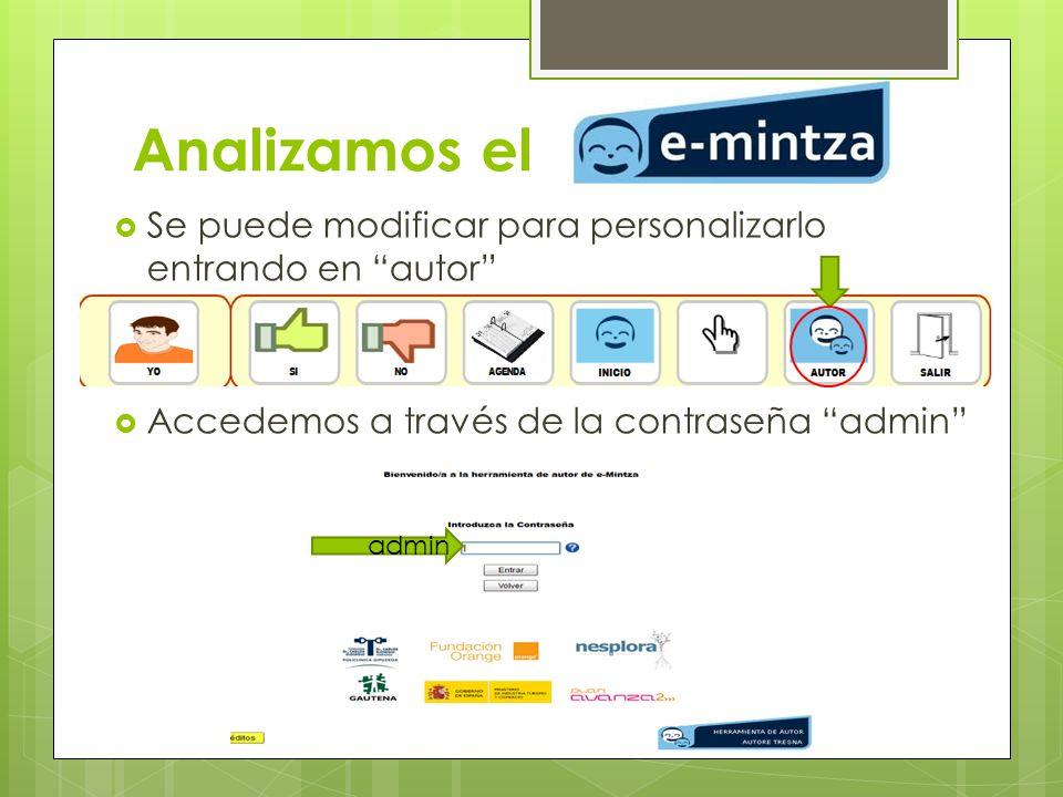 Analizamos el Se puede modificar para personalizarlo entrando en autor Accedemos a través de la contraseña admin