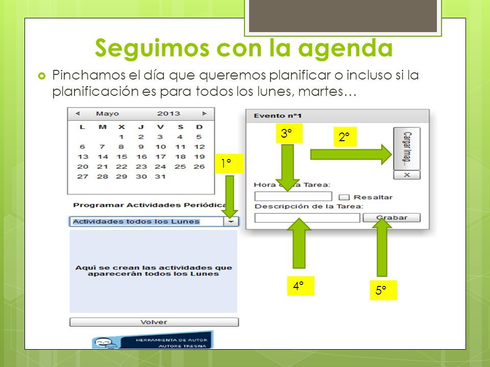 Seguimos con la agenda Pinchamos el día que queremos planificar o incluso si la planificación es para todos los lunes, martes…