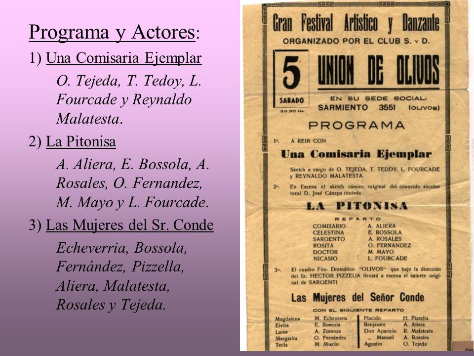 Programa y Actores: 1) Una Comisaria Ejemplar