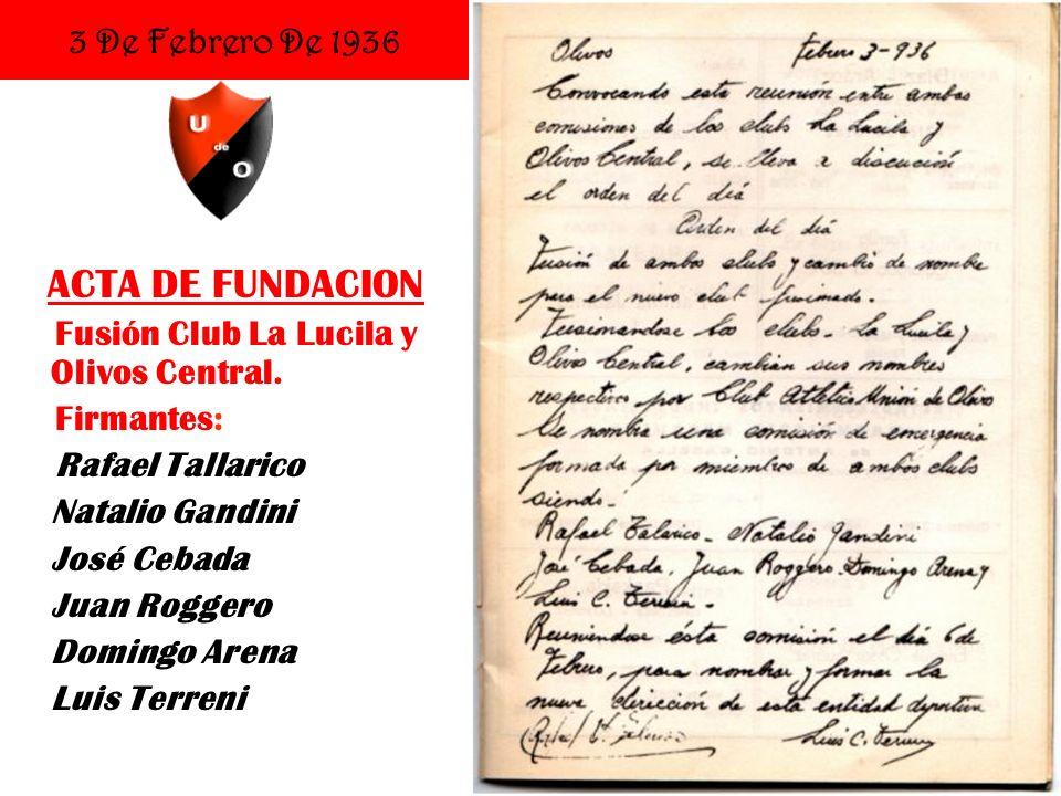 ACTA DE FUNDACION 3 De Febrero De 1936