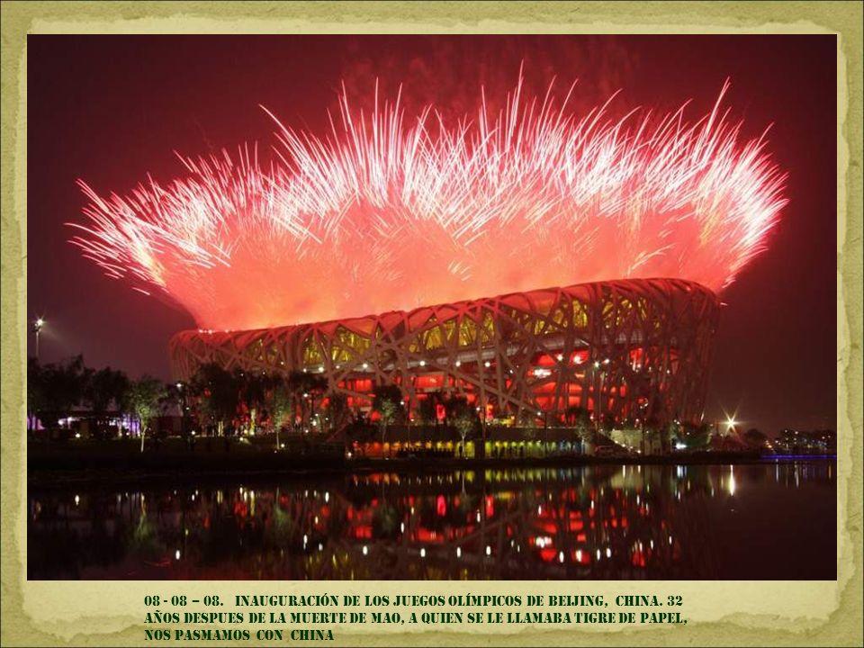 08 - 08 – 08. inauguración de los juegos olímpicos de Beijing, china