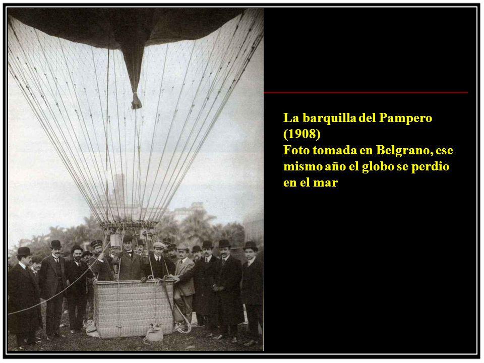 La barquilla del Pampero (1908) Foto tomada en Belgrano, ese mismo año el globo se perdio en el mar.