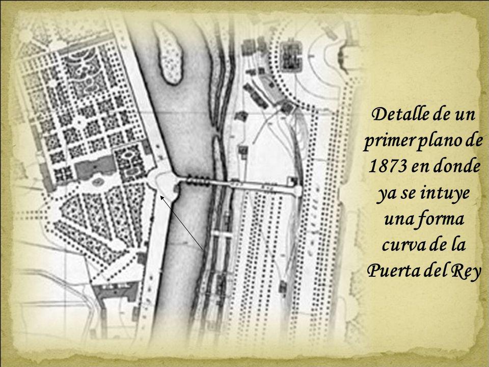 Detalle de un primer plano de 1873 en donde ya se intuye una forma curva de la Puerta del Rey