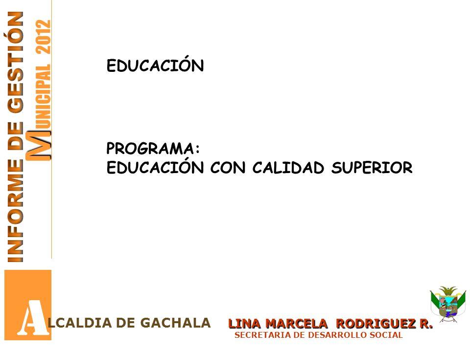 A MUNICIPAL 2012 INFORME DE GESTIÓN EDUCACIÓN PROGRAMA: