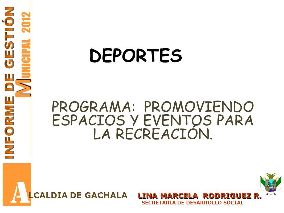 PROGRAMA: PROMOVIENDO ESPACIOS Y EVENTOS PARA LA RECREACIÓN.