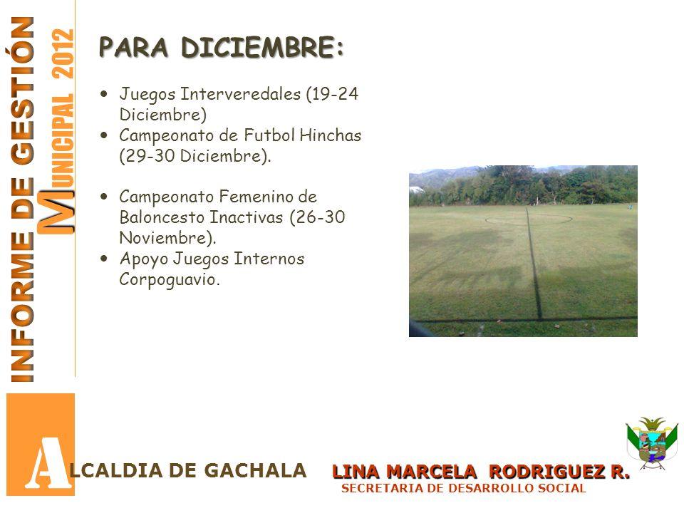 A MUNICIPAL 2012 INFORME DE GESTIÓN PARA DICIEMBRE: