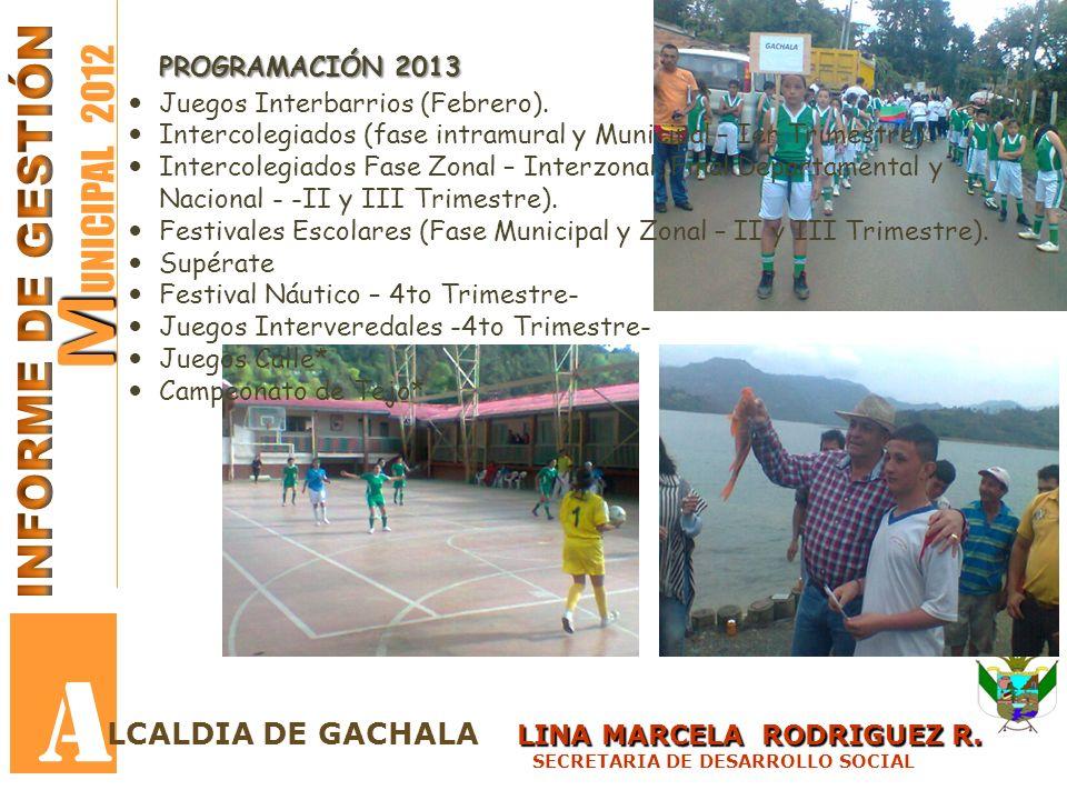 A MUNICIPAL 2012 INFORME DE GESTIÓN PROGRAMACIÓN 2013