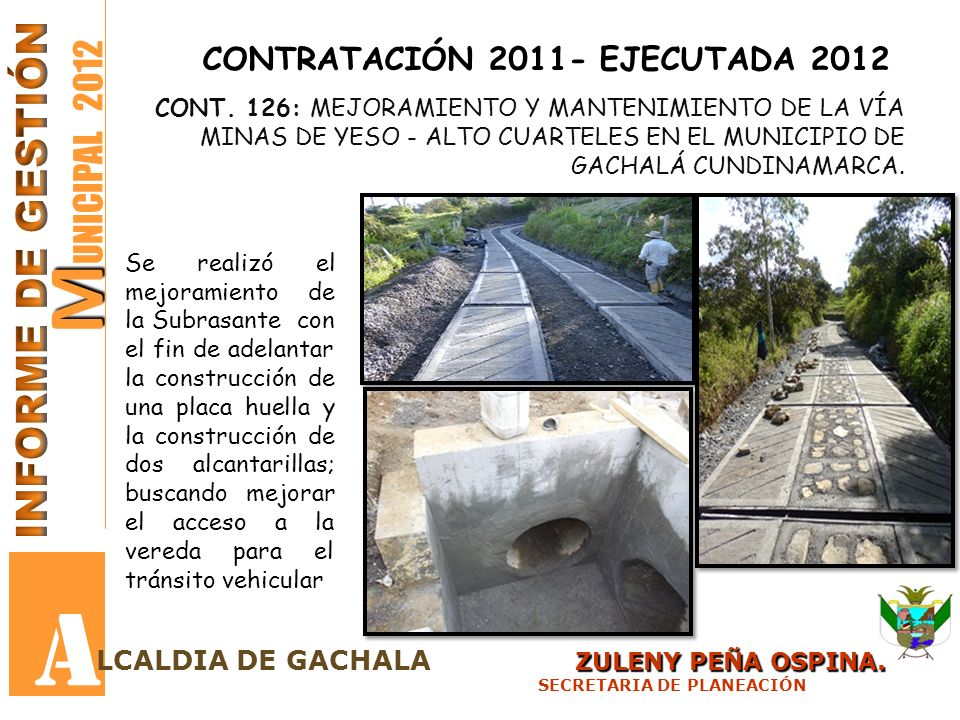 A MUNICIPAL 2012 INFORME DE GESTIÓN CONTRATACIÓN 2011- EJECUTADA 2012