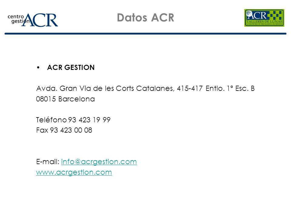 Datos ACR ACR GESTION. Avda. Gran Via de les Corts Catalanes, 415-417 Entlo. 1ª Esc. B. 08015 Barcelona.
