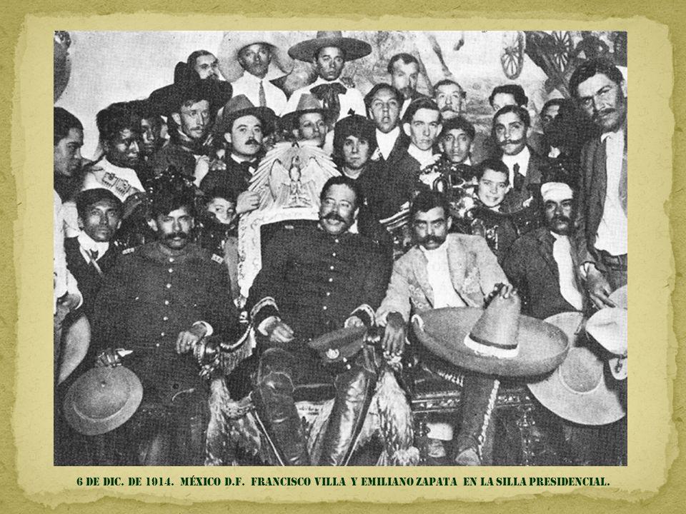 6 de DIC. DE 1914. MÉXICO d.f. FRANCISCO villa Y EMILIANO ZAPATA en la silla presidencial.