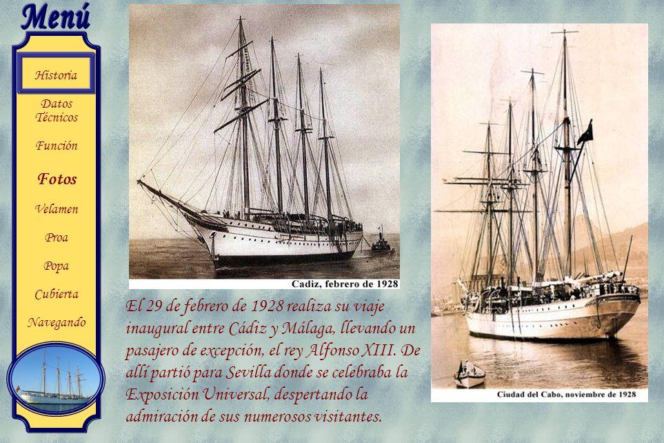 El 29 de febrero de 1928 realiza su viaje inaugural entre Cádiz y Málaga, llevando un pasajero de excepción, el rey Alfonso XIII.