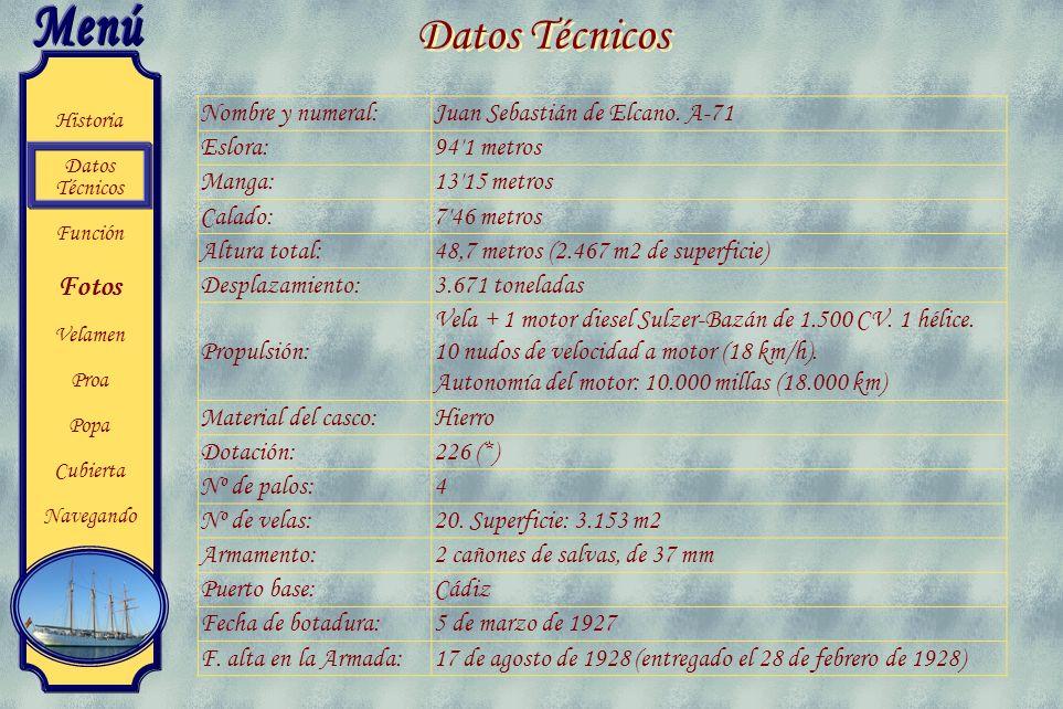 Datos Técnicos Nombre y numeral: Juan Sebastián de Elcano. A-71