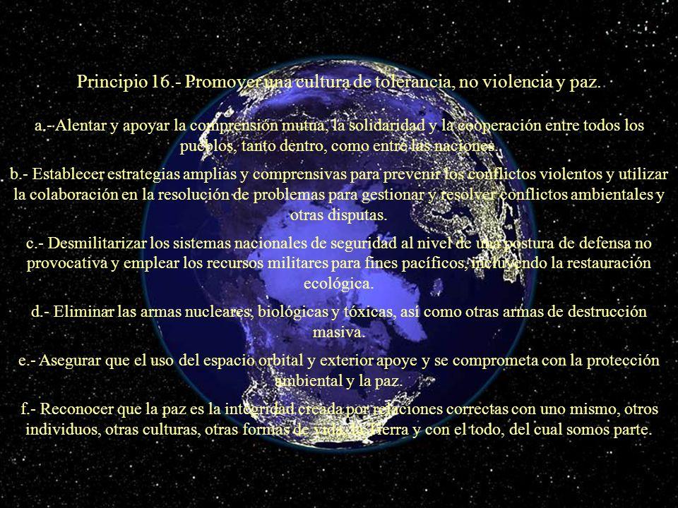 Principio 16.- Promover una cultura de tolerancia, no violencia y paz.
