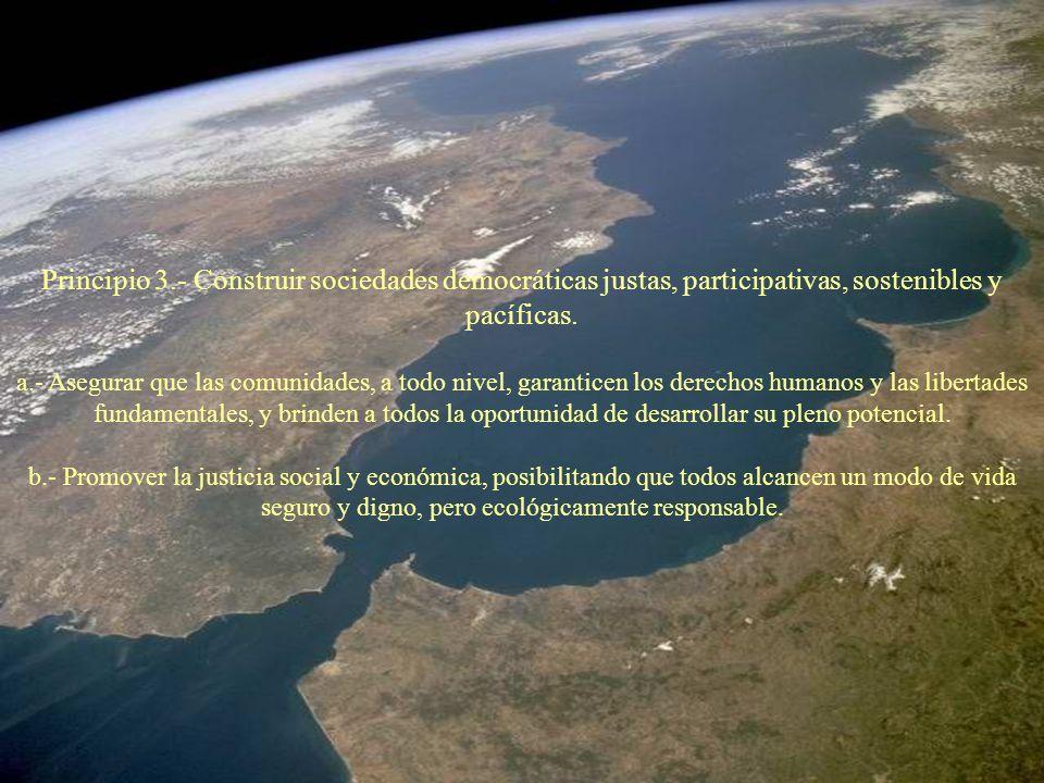 Principio 3.- Construir sociedades democráticas justas, participativas, sostenibles y pacíficas.