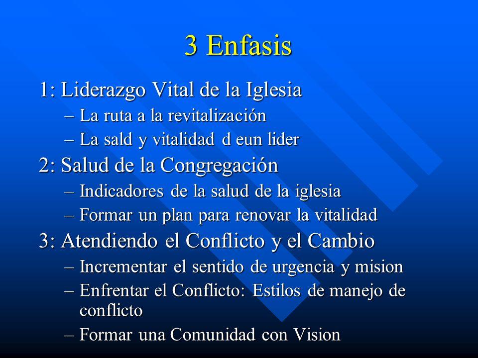 3 Enfasis 1: Liderazgo Vital de la Iglesia 2: Salud de la Congregación