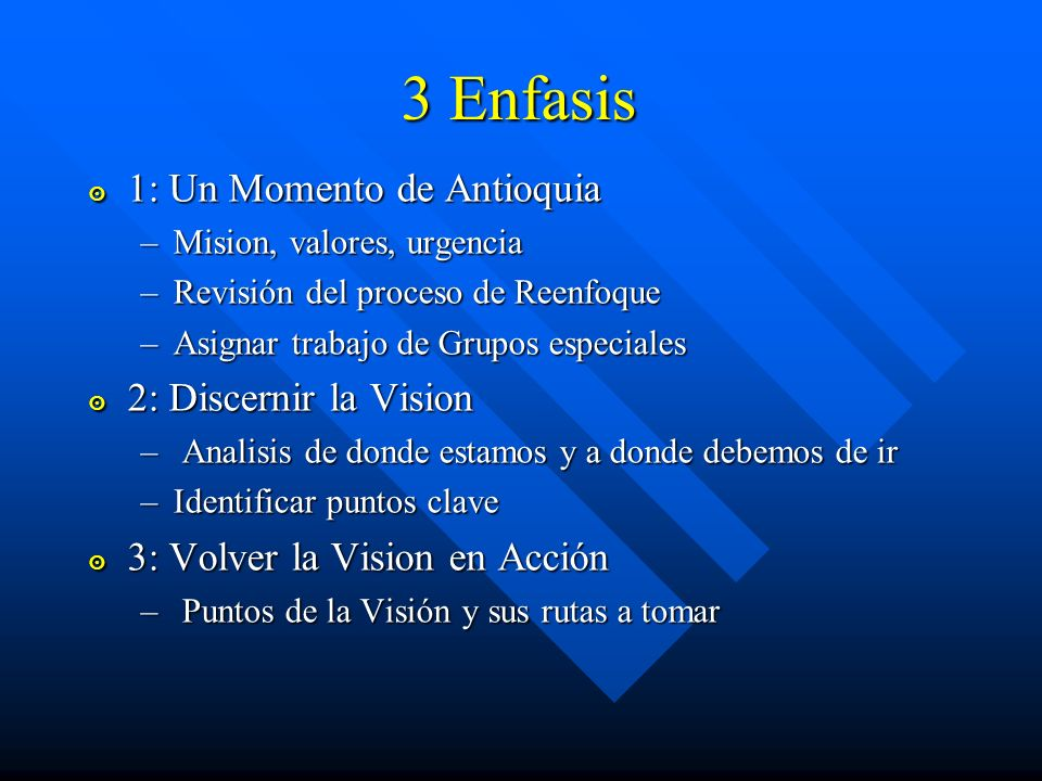 3 Enfasis 1: Un Momento de Antioquia 2: Discernir la Vision