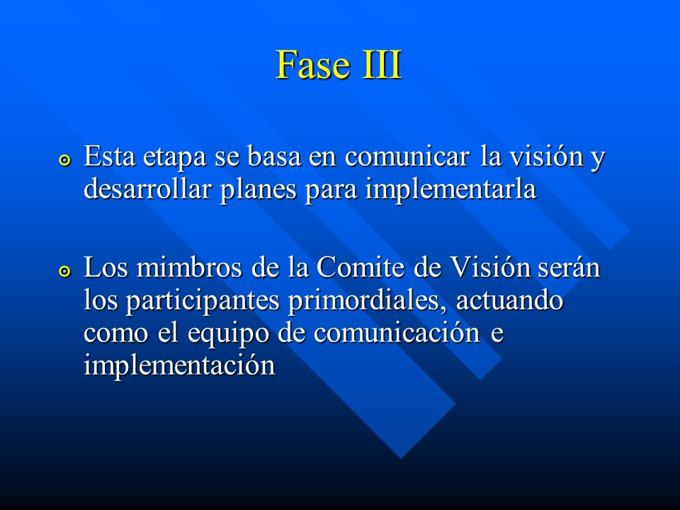 Fase III Esta etapa se basa en comunicar la visión y desarrollar planes para implementarla.