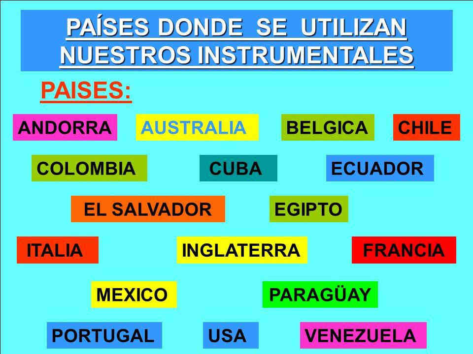 PAÍSES DONDE SE UTILIZAN NUESTROS INSTRUMENTALES