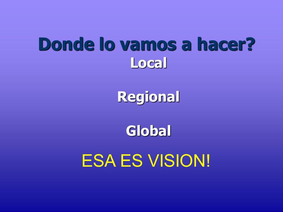 Donde lo vamos a hacer Local Regional Global ESA ES VISION!