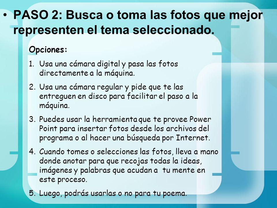 PASO 2: Busca o toma las fotos que mejor representen el tema seleccionado.