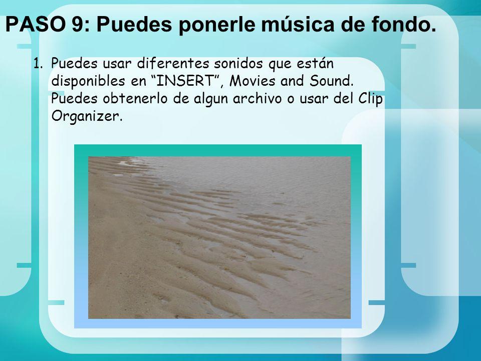 PASO 9: Puedes ponerle música de fondo.