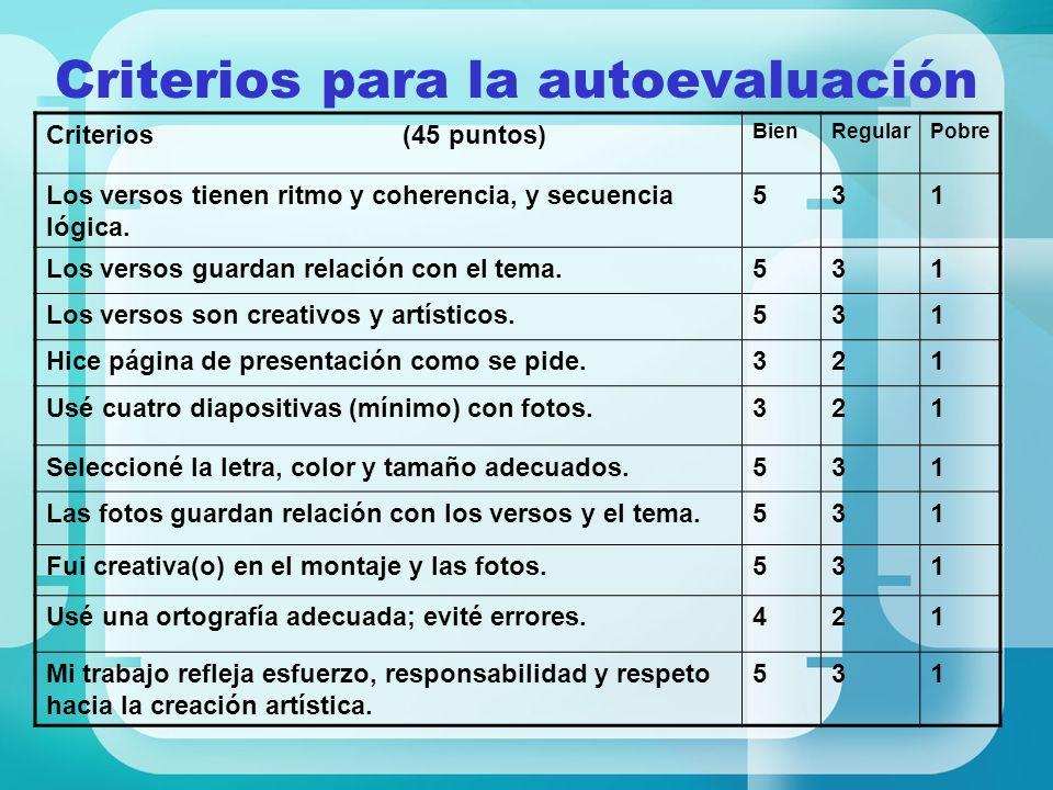 Criterios para la autoevaluación