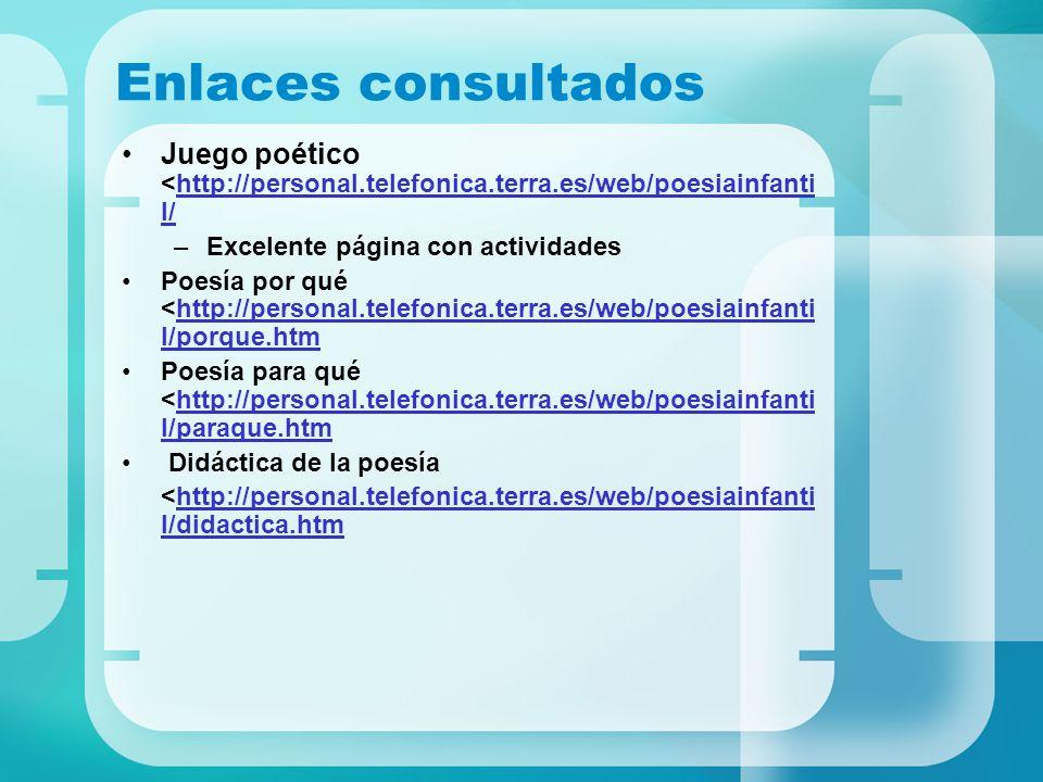 Enlaces consultados Juego poético <http://personal.telefonica.terra.es/web/poesiainfantil/ Excelente página con actividades.