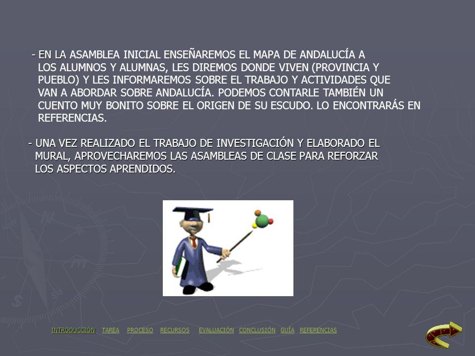 - EN LA ASAMBLEA INICIAL ENSEÑAREMOS EL MAPA DE ANDALUCÍA A