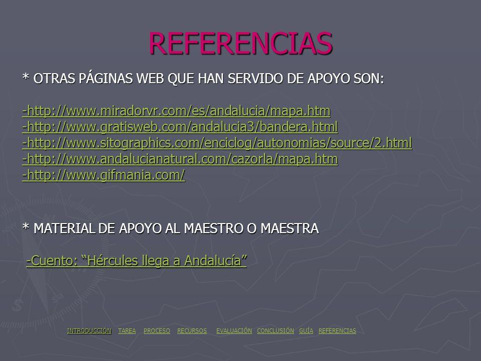 REFERENCIAS * OTRAS PÁGINAS WEB QUE HAN SERVIDO DE APOYO SON: