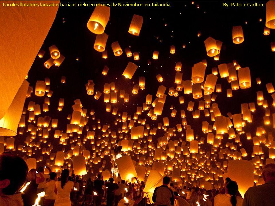 Faroles flotantes lanzados hacia el cielo en el mes de Noviembre en Tailandia. By: Patrice Carlton