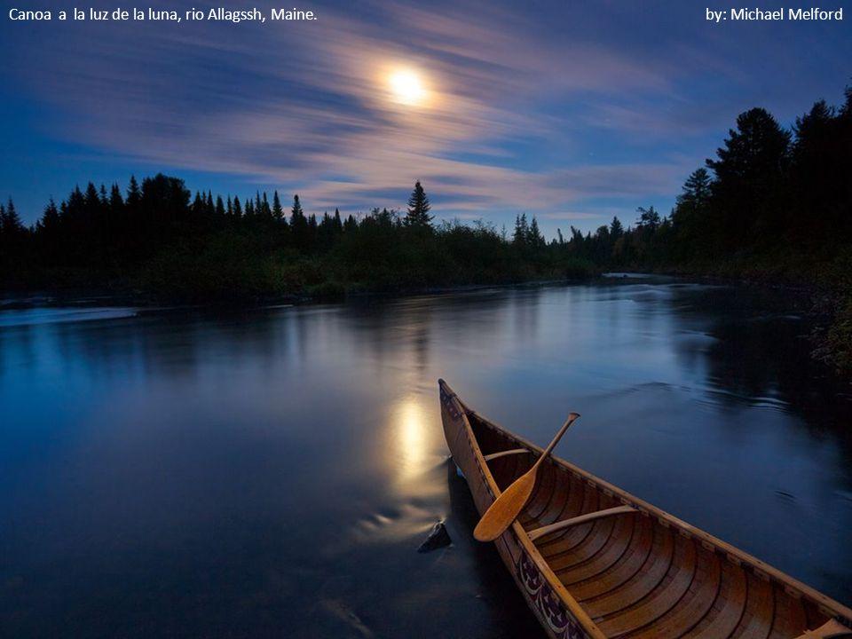Canoa a la luz de la luna, rio Allagssh, Maine. by: Michael Melford