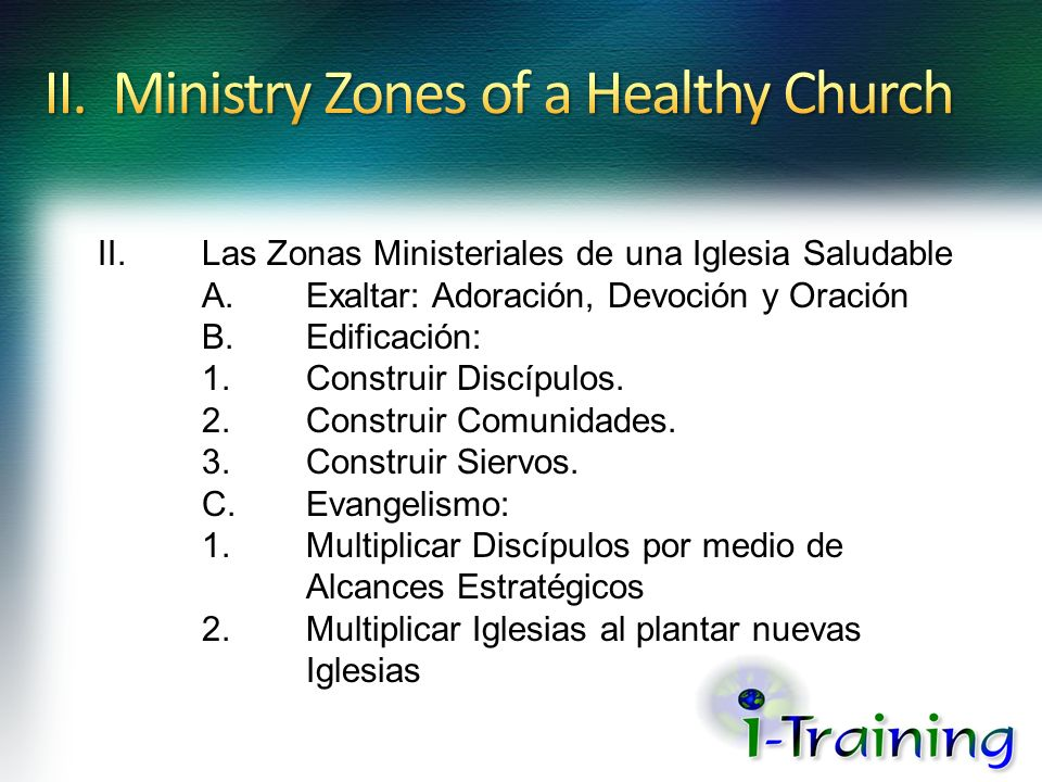 II. Ministry Zones of a Healthy Church