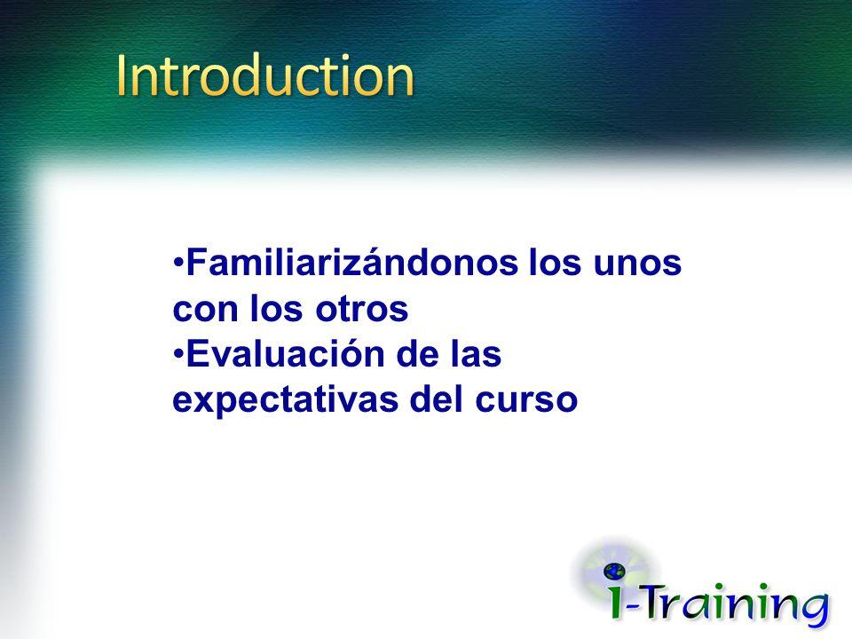 Introduction Familiarizándonos los unos con los otros