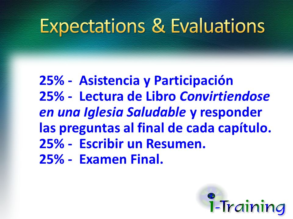 Expectations & Evaluations