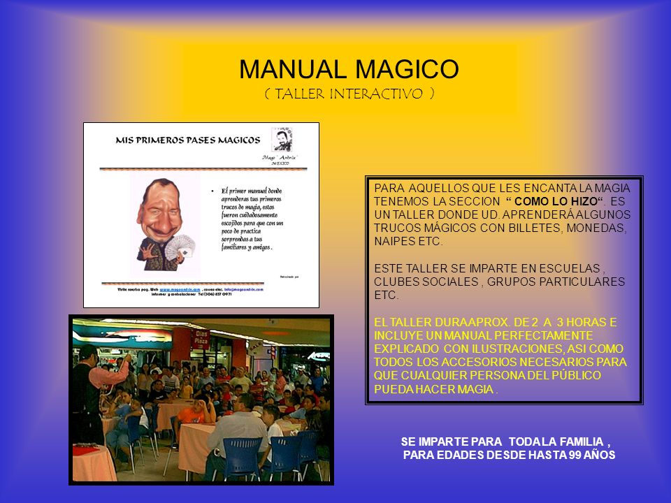 MANUAL MAGICO ( TALLER INTERACTIVO )