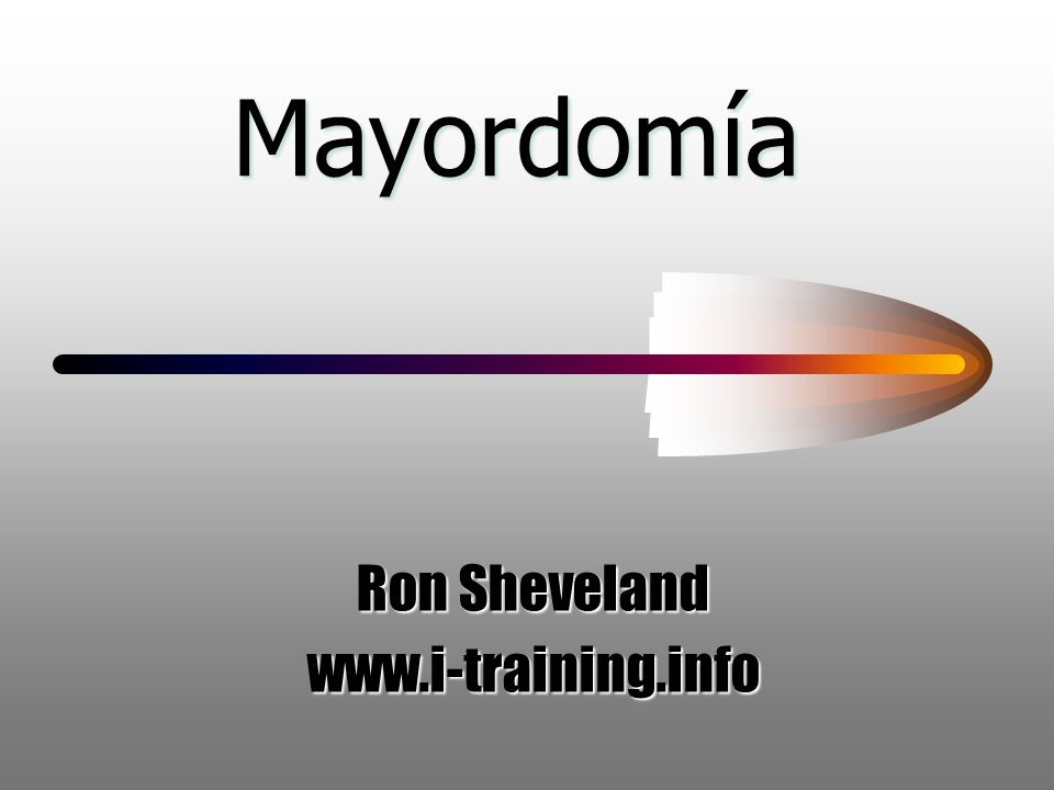 Mayordomía Ron Sheveland www.i-training.info