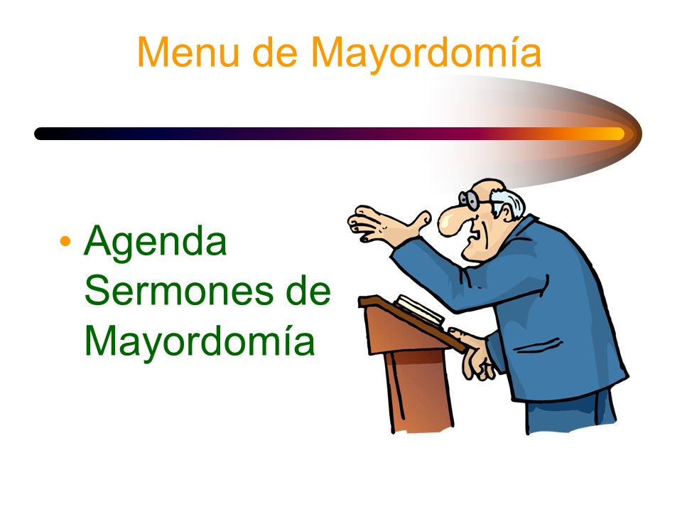 Menu de Mayordomía Agenda Sermones de Mayordomía