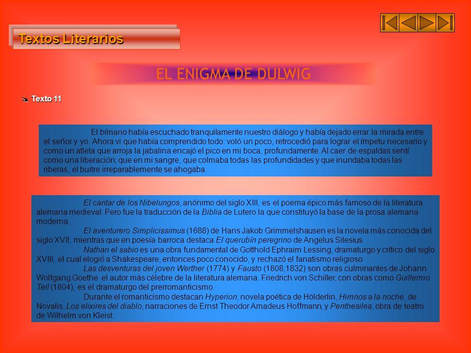 EL ENIGMA DE DULWIG Textos Literarios  Texto 11
