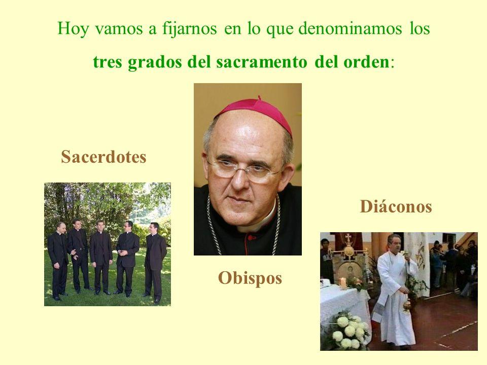 Hoy vamos a fijarnos en lo que denominamos los tres grados del sacramento del orden: